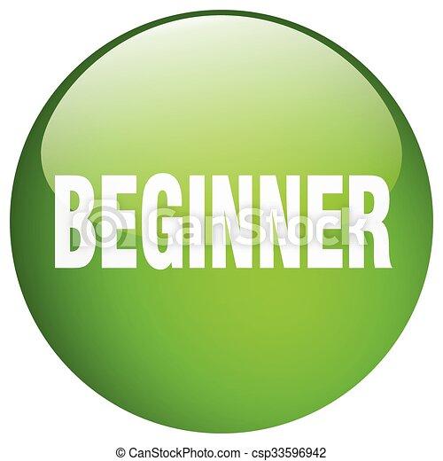 beginner green round gel isolated push button - csp33596942