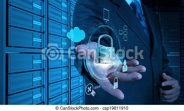 begreb, firma, viser, internet, hånd, hængelås, computer, online, berøring, forretningsmand, garanti, skærm, 3 - csp19811910