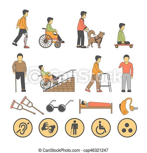 begrensd, iconen, mensen, onbekwaamheid, kansen, gehandicapt, vector, lichamelijk - csp46321247