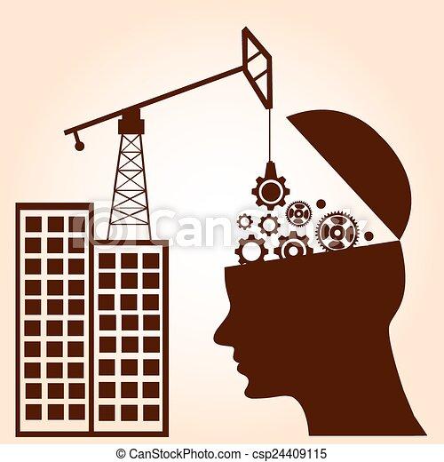 begrepp, affär, intelligens, concept., hjärna, utrustar, construction. - csp24409115