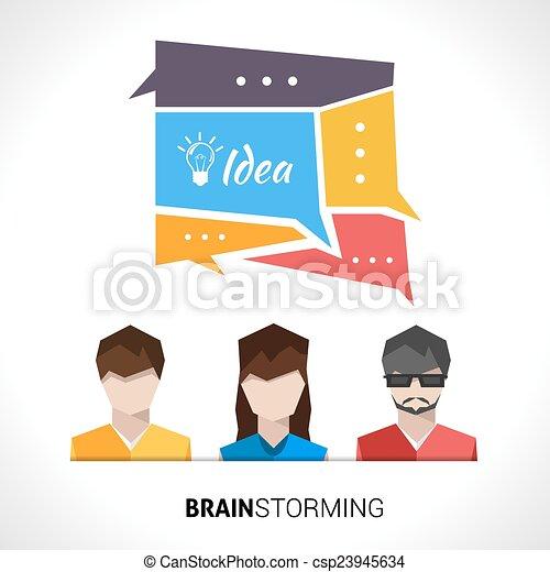 begrepp, brainstorming, illustration - csp23945634