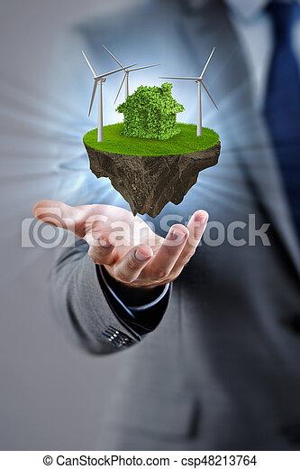 begrepp, eco, ö, flygning, holdingen, affärsman - csp48213764