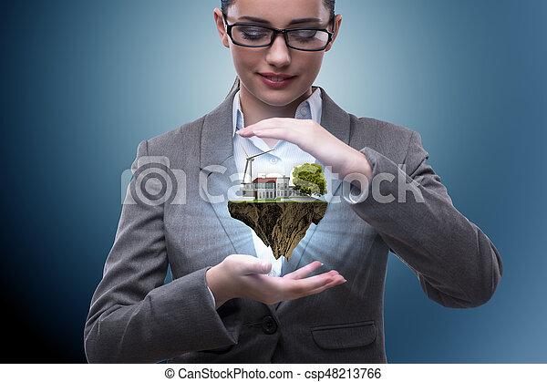 begrepp, eco, affärskvinna, flygning, holdingen, ö - csp48213766