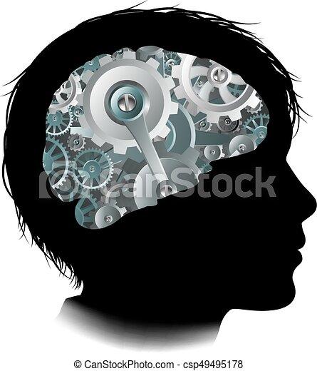 begrepp, kuggar, maskin, hjärna, utrustar, barn, arbetsgång - csp49495178