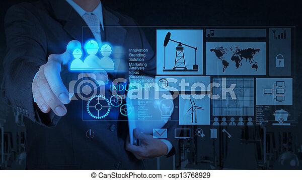 begriff, arbeitende , modern, geschäftsmann, technologie, ingenieur - csp13768929