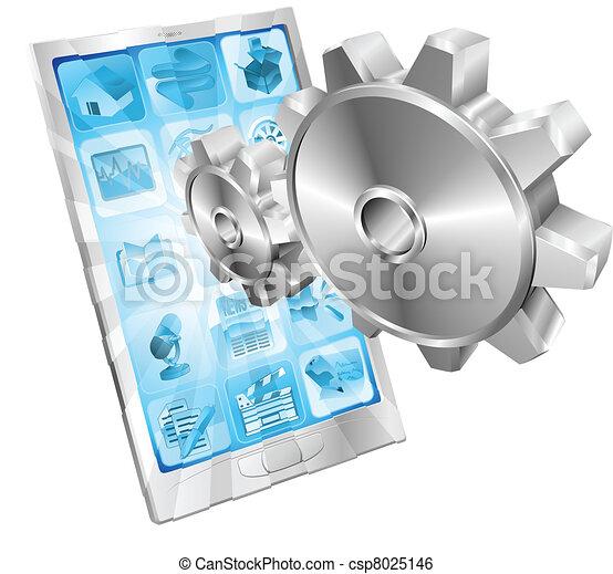 begriff, ausrüstung, zähne, schirm, fliegendes, telefon, heraus - csp8025146