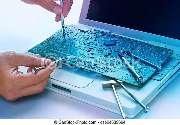 begriff, bunte, beschwingt, werkzeuge, brett, reparaturen, elektronisch - csp24533664
