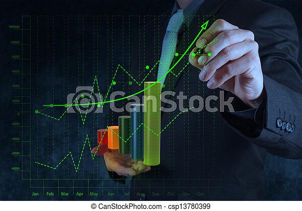 Businessman Hand Zeichnung Virtual Chart Business auf Touchscreen Computer als Konzept - csp13780399