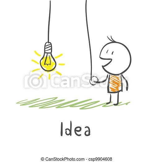 begriff, illustration., licht, schließt, idea., person, bulb. - csp9904608