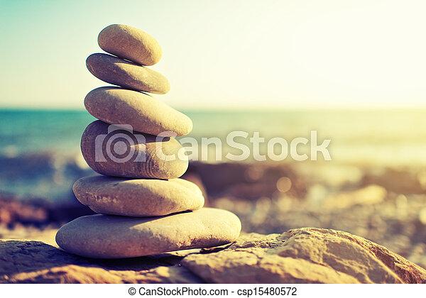 begriff, kueste, steinen, harmony., meer, gleichgewicht - csp15480572