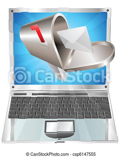 begriff, laptop, fliegendes, briefkasten, brief, schirm, heraus - csp6147555