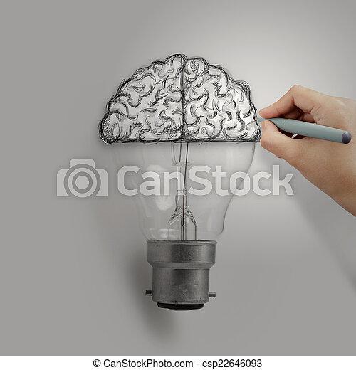 Glühbirne Mit Hand Gezeichnetem Gehirn Als Kreatives