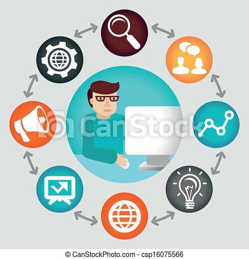 begriff, medien, -, projektmanager, vektor, sozial - csp16075566