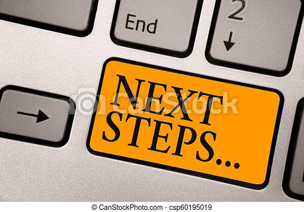 Handschrift nächsten Schritt . Konzept bedeutet Numper des Prozesses werden nach der aktuellen Planung Keyboard Orange Key Intention erstellt Computer Berechnung Reflexion Dokument. - csp60195019