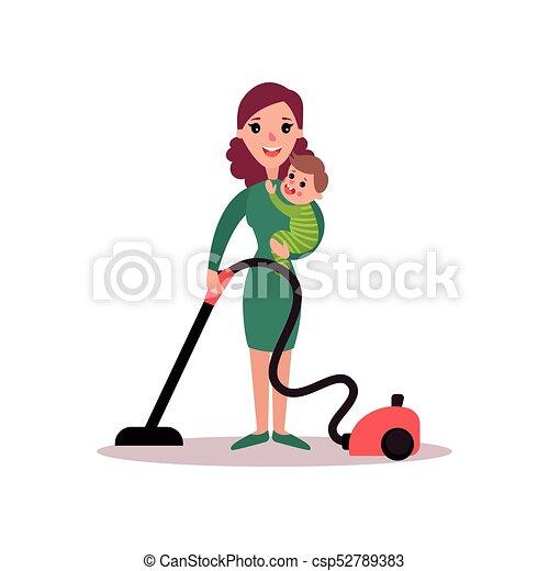 Begriff Reiniger Sie Boden Mutter Arme Abbildung Vektor