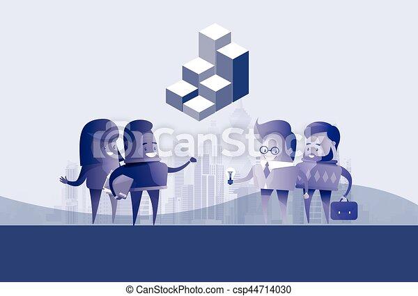 begriff, silhouette, geschäftsmenschen, kommunikation, diskussion, idee, gruppe, versammlung, sprechen - csp44714030