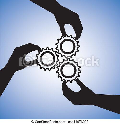 Konzeption von Teamwork und Mitarbeiter, die für Teamerfolg zusammenarbeiten. Die Grafik umfasst Hand-Silhouetten, die Zahnräder zusammenhalten und auf Zusammenarbeit hinweisen - csp11076023