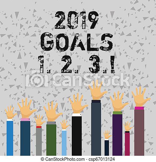 begriff, wort, anfänge, geschaeftswelt, plans., text, schreibende, 1, 2, 2019, ziele, organisieren, zukunft, auflösung, 3. - csp67013124