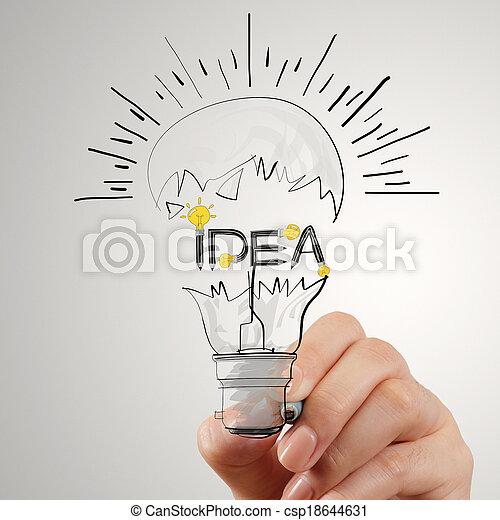 begriff, wort, licht, idee, hand, design, zwiebel, zeichnung - csp18644631