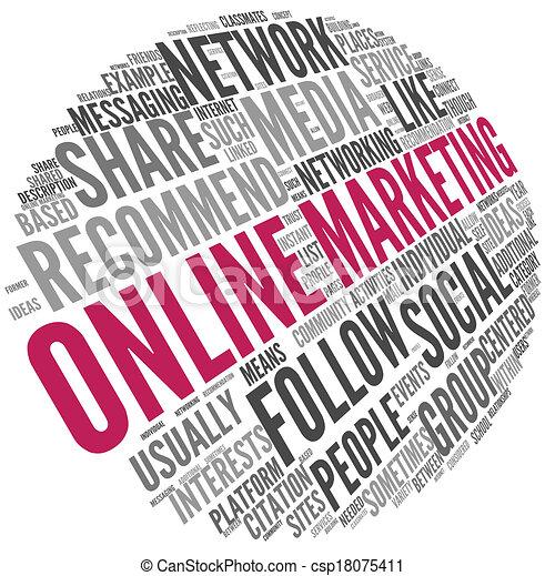 begriff, wort, marketing, etikett, online, wolke - csp18075411