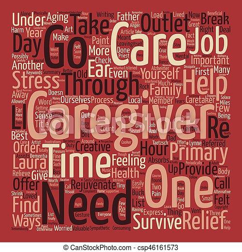 begriff, wort, text, hauptsächlich, wie, hintergrund, überleben, caregiver, wolke - csp46161573