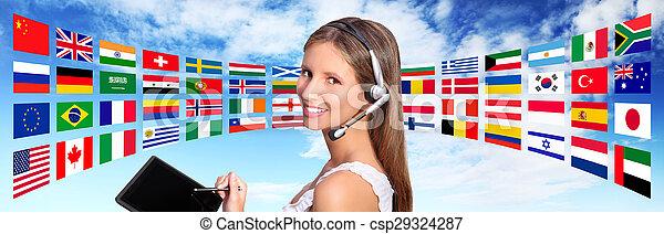 begriff, zentrieren, globale kommunikationen, rufen, bediener, international - csp29324287