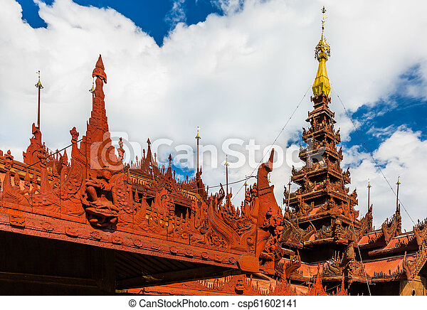 behälter, stadt, mandalay, myanmar, kloster, shwe - csp61602141