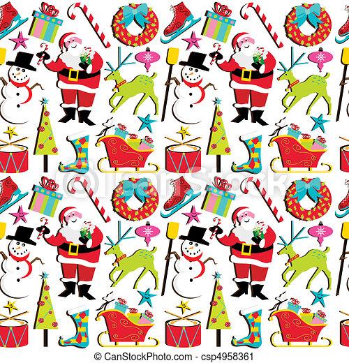 behang, retro, kerstmis - csp4958361