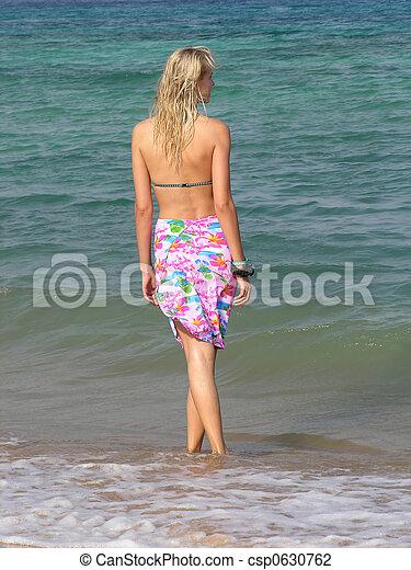 behind blond girl on beac - csp0630762