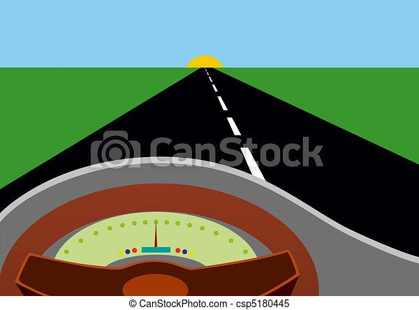 Car Driving Into Horizon Drawing