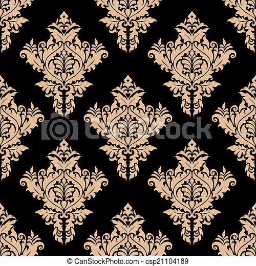 Beige and black seamless floral pattern - csp21104189