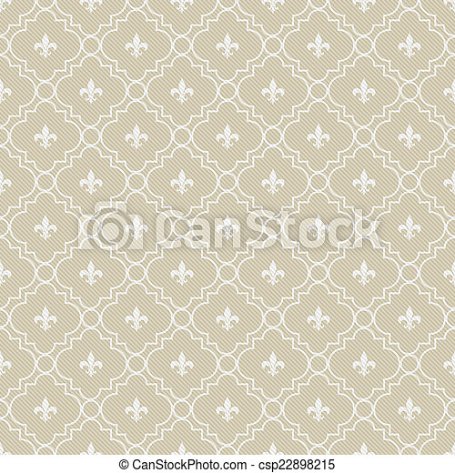 beige and white fleur de lis pattern textured fabric background that