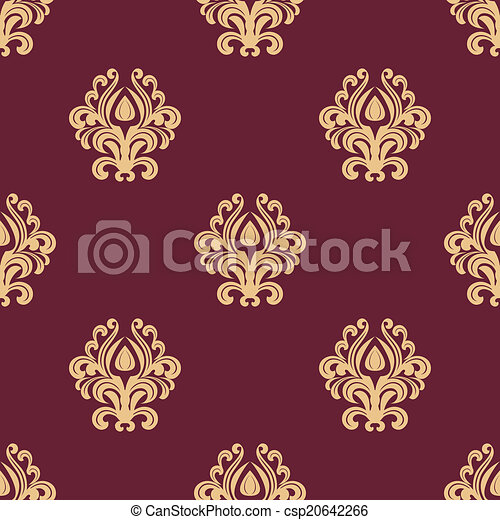 Beige floral seamless pattern on maroon background - csp20642266