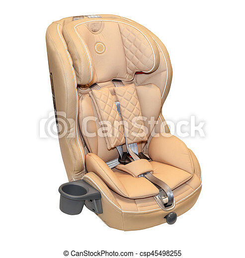 Beige Leather Baby Auto Car Seat Isolated