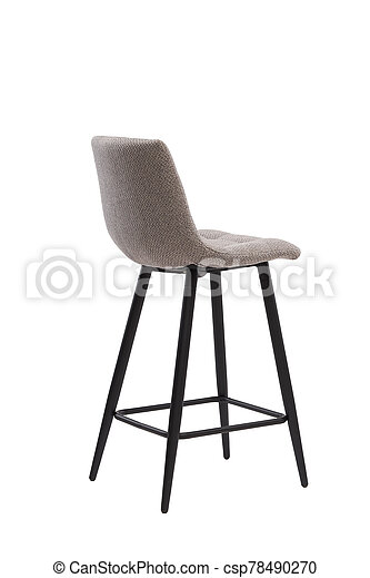 beige, mocco textile bar stool isolated on white background. modern beige, mocco bar chair back view. soft comfortable upholstered tall chair. interrior furniture element. - csp78490270