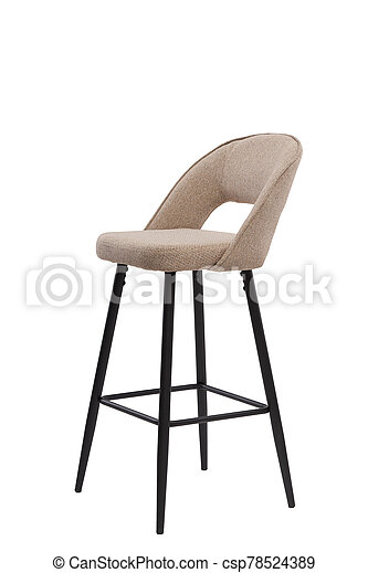 beige, mocco textile bar stool isolated on white background. modern beige, mocco bar chair front view. soft comfortable upholstered tall chair. interrior furniture element. - csp78524389