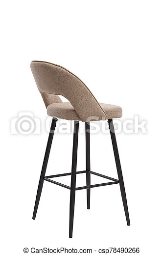 beige, mocco textile bar stool isolated on white background. modern beige, mocco bar chair back view. soft comfortable upholstered tall chair. interrior furniture element. - csp78490266