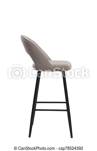 beige, mocco textile bar stool isolated on white background. modern beige, mocco bar chair side view. soft comfortable upholstered tall chair. interrior furniture element. - csp78524392
