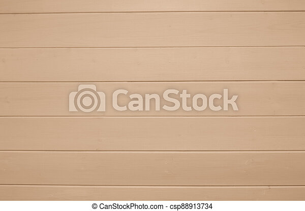 Beige wooden texture background. Copy space, text place. Wood finish material shop. Natural banner. Painted plank timber. Wall lining. Rustic mockup. Indoor interior. Horizontal lines. Pantone color - csp88913734