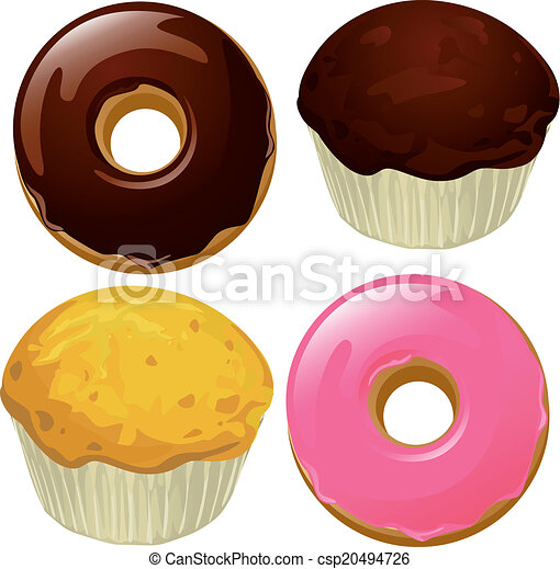 beignets, -, isolé, illustration, vecteur, fond, muffins, blanc - csp20494726