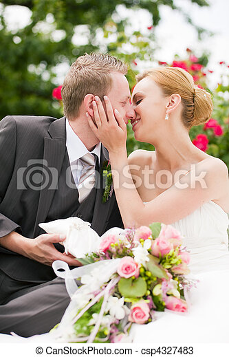 beijando, -, parque, casório - csp4327483