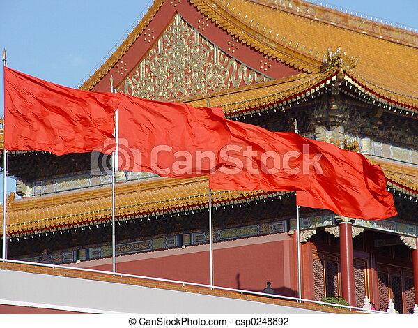 Porcelana de Beijing - bandera - csp0248892