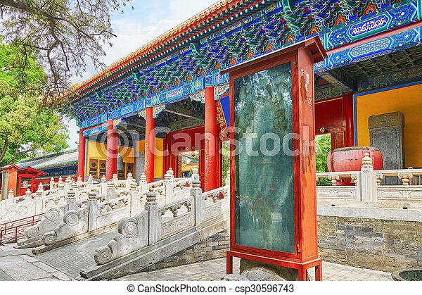 Templo de confucio en Beijing es el segundo templo confucio más grande en China. - csp30596743