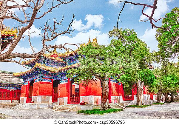 Templo de confucio en Beijing es el segundo templo confucio más grande en China. - csp30596796