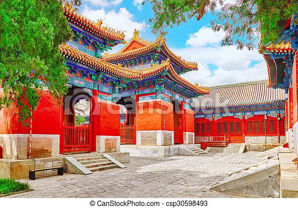 Templo de confucio en Beijing es el segundo templo confucio más grande en China. - csp30598493
