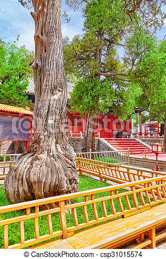 Templo de confucio en Beijing es el segundo templo confucio más grande en China. - csp31015574