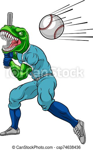 beisball, balanceo, dinosaurio, mascota, murciélago, jugador - csp74638436