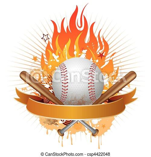 Béisbol con llamas - csp4422048