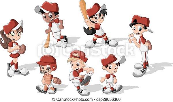 Niños con uniforme de béisbol - csp29056360