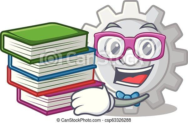 bekapcsol, könyv, tervezés, diák, karikatúra, legjobb, ikon - csp63326288